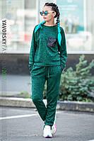 Спортивный однотонный костюм цвет зеленый