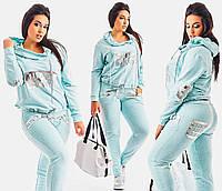 """Женский трикотажный спортивный костюм """"LS"""" с кожаными вставками (большие размеры)"""