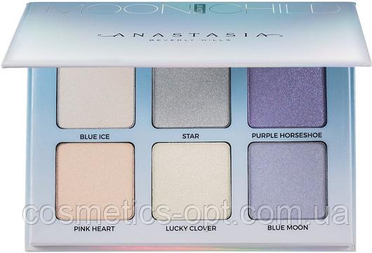 Палетка хайлайтеров Anastasia Beverly Hills Glow Kit Moonchild (Blue 6 color) (реплика)