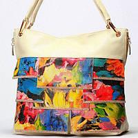 Женская сумка Giorgio Ferrilli  бежевая в цветах