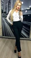 Классические укороченные чёрные женские брюки с карманами 42-44 44-46