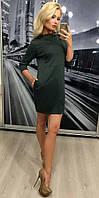 Стильное зелёное платье из французского трикотажа с карманами и строчками 42-44 44-46