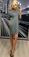 Стильное серо-оливковое платье из французского трикотажа с карманами и строчками 42-44 44-46