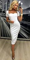 Красивое нарядное выходное вечернее белое облегающее платье с фигурным декольте 42-44 44-46