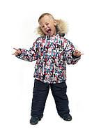 Зимний полукомбинезон+куртка для мальчика Буквы, детские зимние комбинезоны оптом от производителя