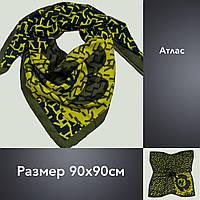 Платок U Шанель атлас 90х90 оливка