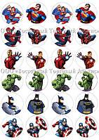 Печать съедобных картинок для капкейков - 4,5 см - Вафельная бумага - Спайдермен и герои №2