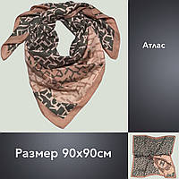 Платок U Шанель атлас 90х90 беж+серый, цв.