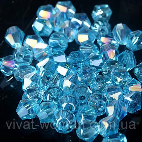 Бусины биконус (Bicone) 4 мм Lake blue AB. Цена за 115 шт