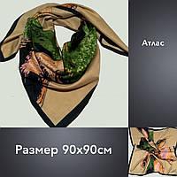 Платок U Картье атлас 90х90 капуччино с зеленым