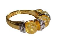 """Кольцо """"Лойко"""" с янтарем, покрытое золотом с родием (r027q0j0)"""