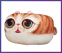 Подушка кот с 3D принтом (подушка+съёмный чехол) 60х40 см.