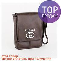 Мужска сумка через плечо Гуччи Gucci коричневая, черная, эко-кожа / Ксассическая мужская сумка из кожи