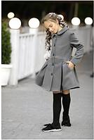 Кашемировое пальто для девочки,р.10-13 лет(Серый цвет)