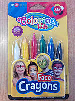 Краски-карандаши для лица (аквагрим),  6 цветов, ТМ Colorino (Польша)