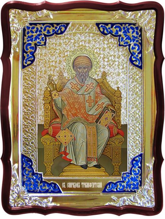 Святые лики в православном каталоге икон - Святой Спиридон Тримифунтский на троне