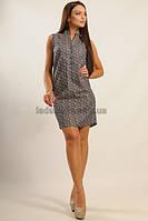 Легкое платье-рубашка свободного кроя из принтованной коттоновой ткани. Лайм джинс принт цветной