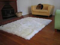 Прямоугольные ковры из шкур овчины, ковры из овчинки, фото 1