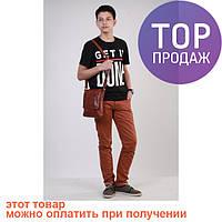 Мужская сумка на плечо, кожаная коричневая маленькая / Мужская сумка эко-кожа