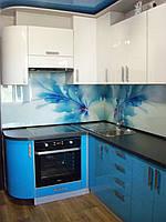 Кухня Белая,Синяя, глянцевая, угловая, скинали, фото 1