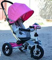 Детский трехколесный велосипед-коляска Crosser T350 ECO с фарой, розовый