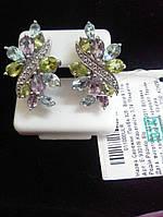 Серебряные сережки с полудрагоценными камнями топаз, фианит, хризолит