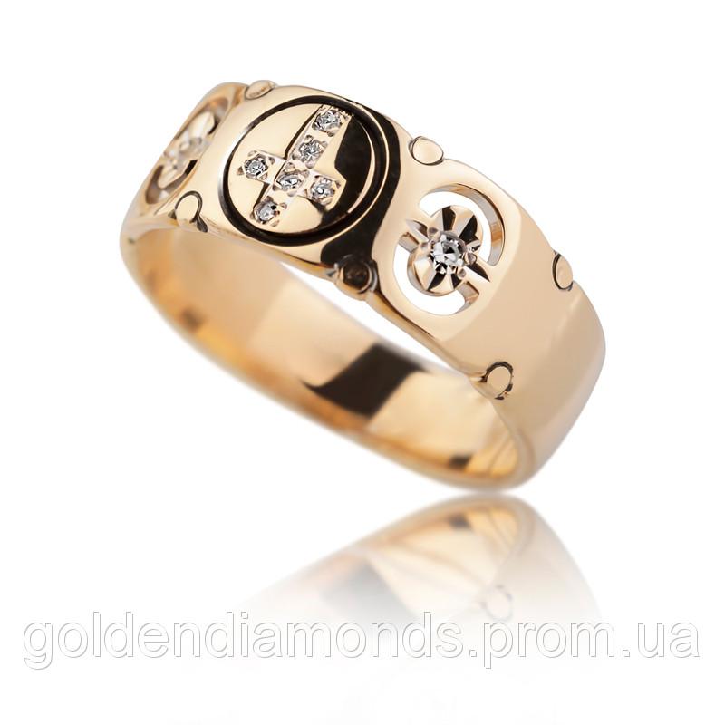 Жіноче кільце з жовтого золота з діамантами С10Л3№10