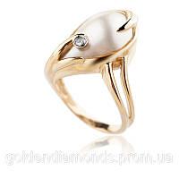Золотое женское кольцо с жемчугом и бриллиантами С10Л3№25