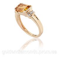 Золотое кольцо с цитрином и бриллиантами С13Л1№9