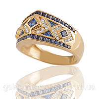 Золотое кольцо с сапфирами и бриллиантами С13Л1№31