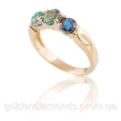 Золотое женское кольцо с разноцветными камнями С13Л1№30