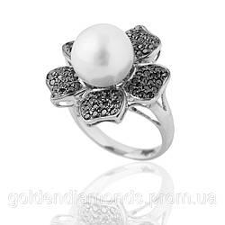 Кільце з білого золота з перлами і діамантами С13Л1№14