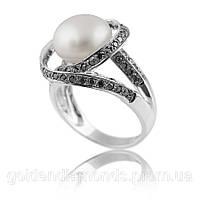 Золотое кольцо с жемчугом и бриллиантами С13Л1№13