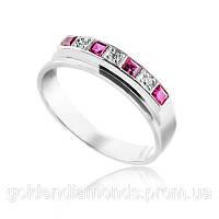 Кольцо из белого золота с рубином и бриллиантами С15Л1№4