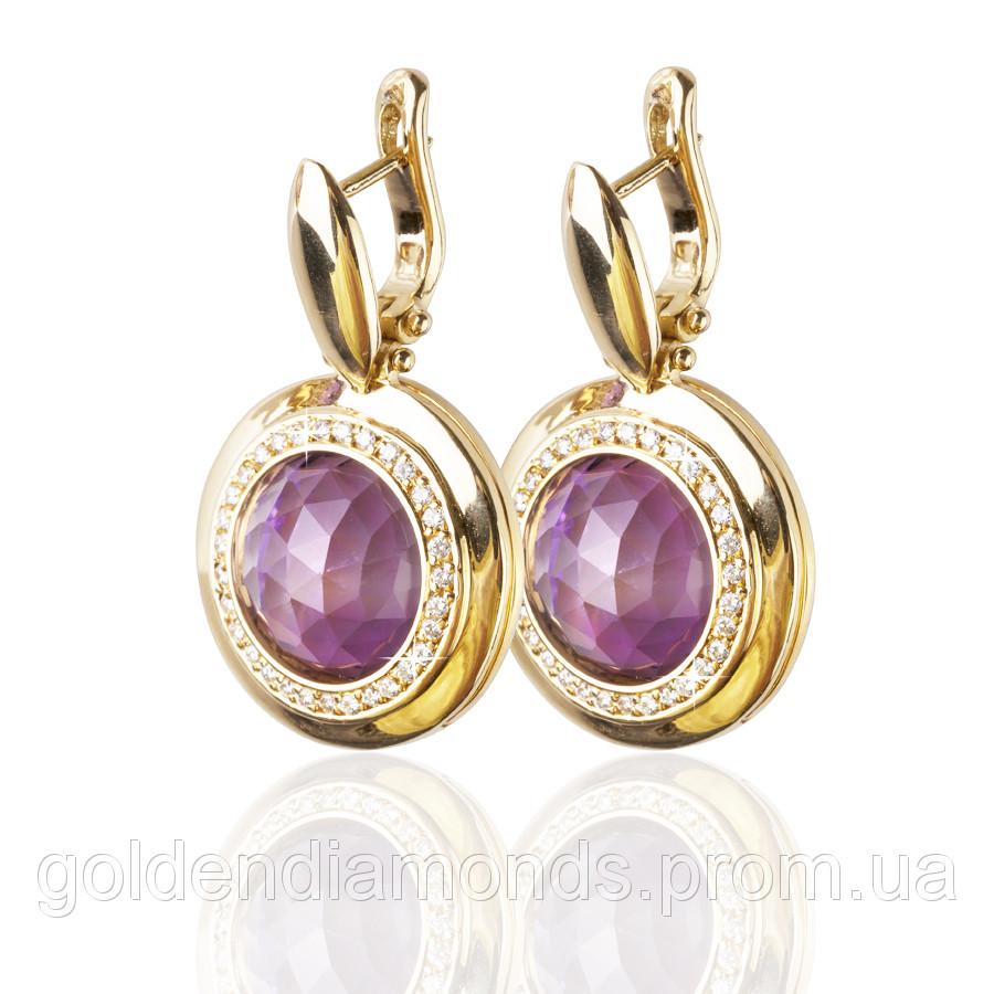Золоті сережки з аметистами і діамантами С14Л1№2