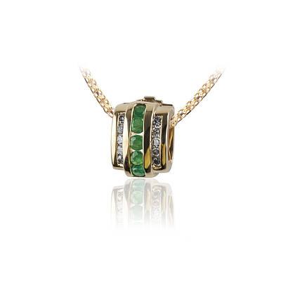 Золотой кулон с изумрудами и бриллиантами С14Л1№30