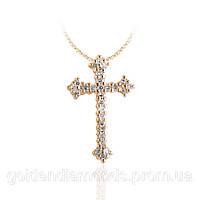 Золотой крестик с драгоценными камнями С15Л2№11
