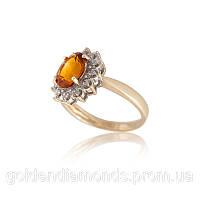 Золотое кольцо с цитрином и бриллиантами С11Л1№27