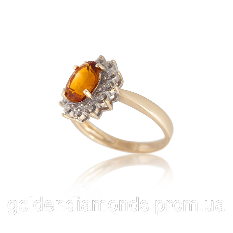 Золотое кольцо с цитрином и бриллиантами С11Л1№27 - интернет-магазин golden  diamonds в 181747b1a6bd1