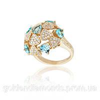 Золотое кольцо с топазами и бриллиантами С11Л1№4
