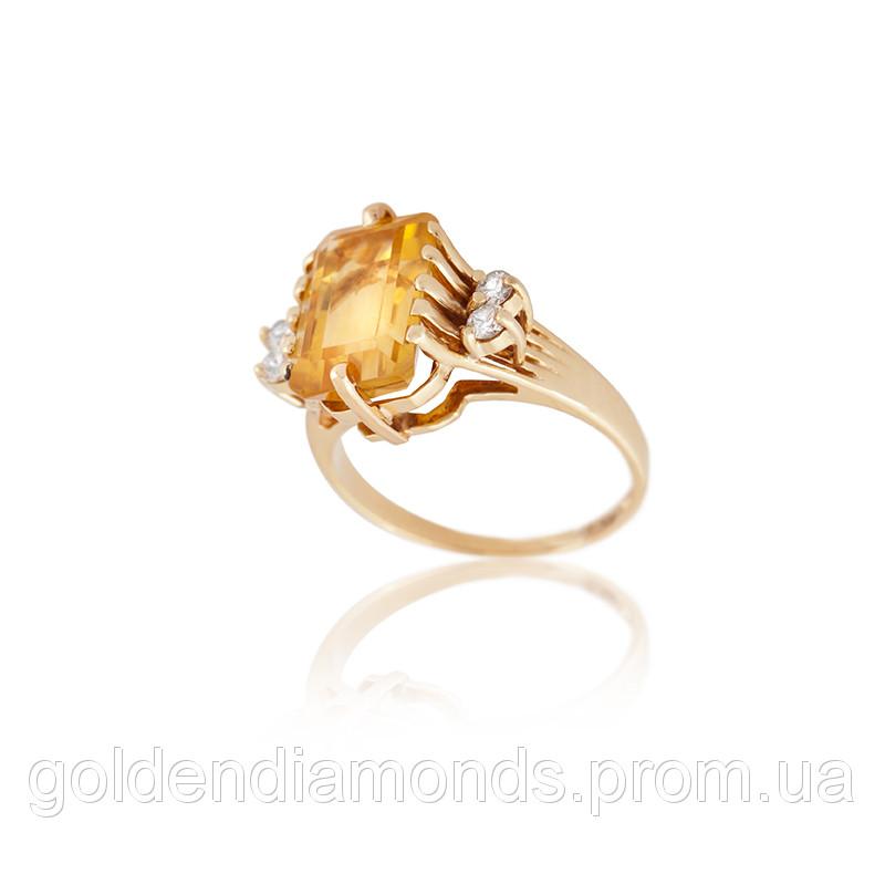 Золоте кільце з цитрином і діамантами С11Л1№29