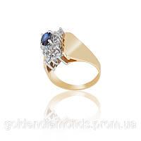 Золотое кольцо с сапфиром и бриллиантами С12Л3№4