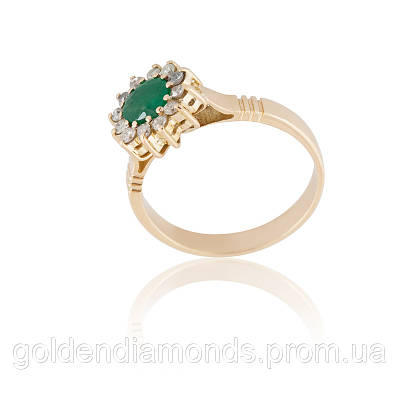 Золотое кольцо с изумрудом и бриллиантами С12Л3№17