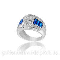Золотое кольцо с сапфиром и бриллиантами С12Л2№1