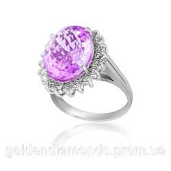 Золотое кольцо с аметистом и бриллиантами С12Л3№11