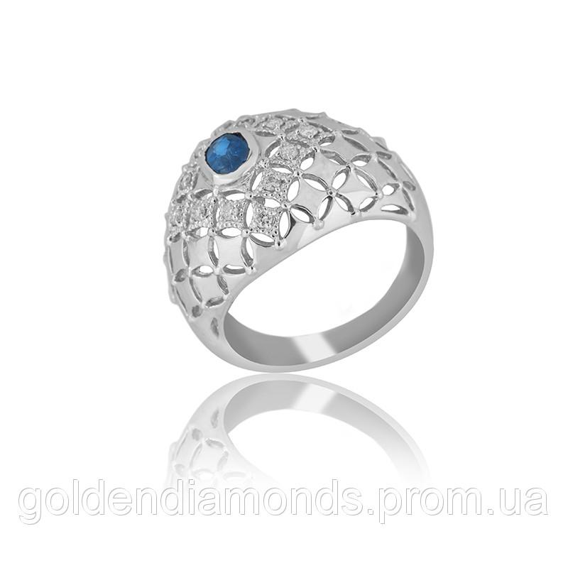 Золоте кільце з сапфіром і діамантами С12Л3№1