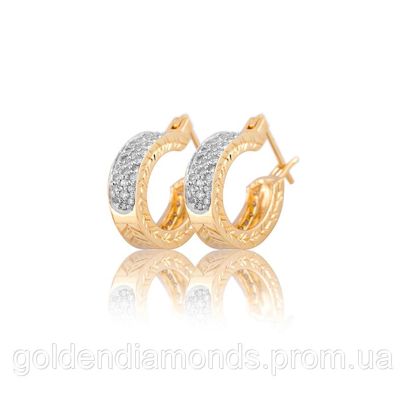 Жіночі сережки з жовтого золота з діамантами С11Л1№13
