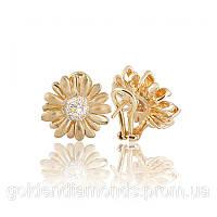 Маленькие золотые серьги с бриллиантами С12Л1№3