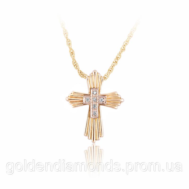 Золотой крестик с драгоценными камнями С11Л1№36