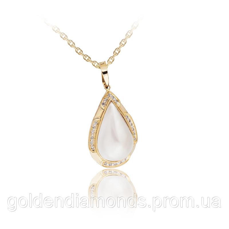 Золотой кулон с жемчугом и блиллиантами С11Л1№39